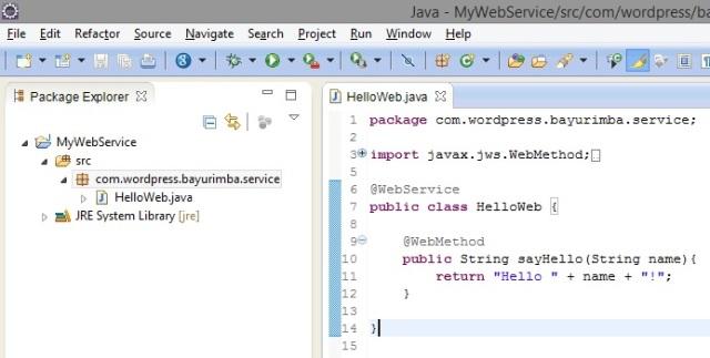 Create HelloWeb Class